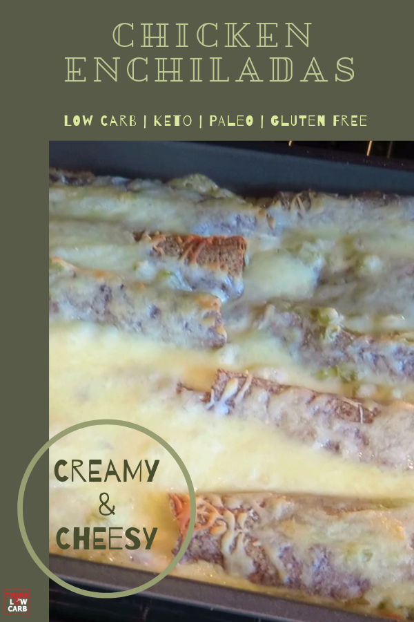 Keto Creamy Green Chili Chicken Enchiladas
