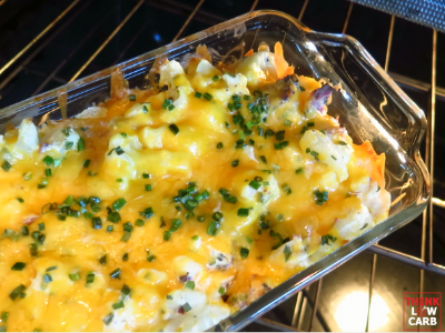 Keto Cheesy Chicken, Cauliflower and Bacon Casserole