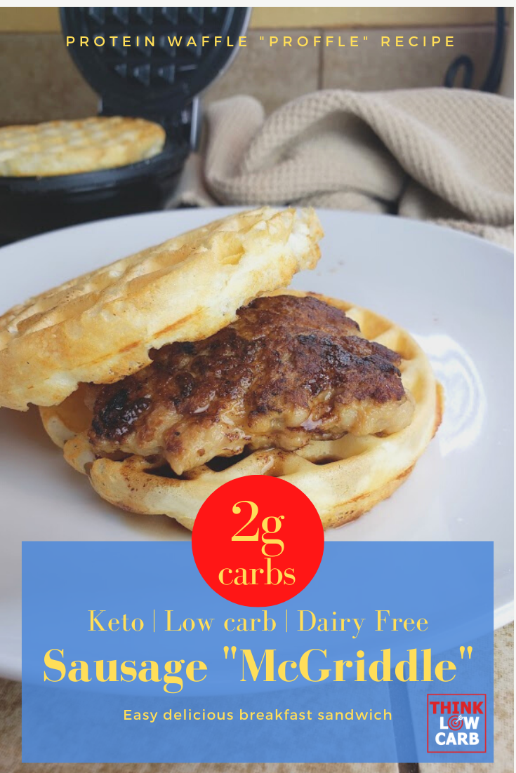 "keto sausage ""McGriddle"" breakfast sandwich"
